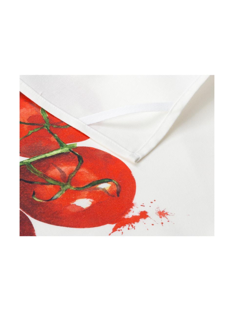Baumwoll-Geschirrtücher-Set Marchè, 3-tlg., Weiß, Grün, Rot, 50 x 70 cm