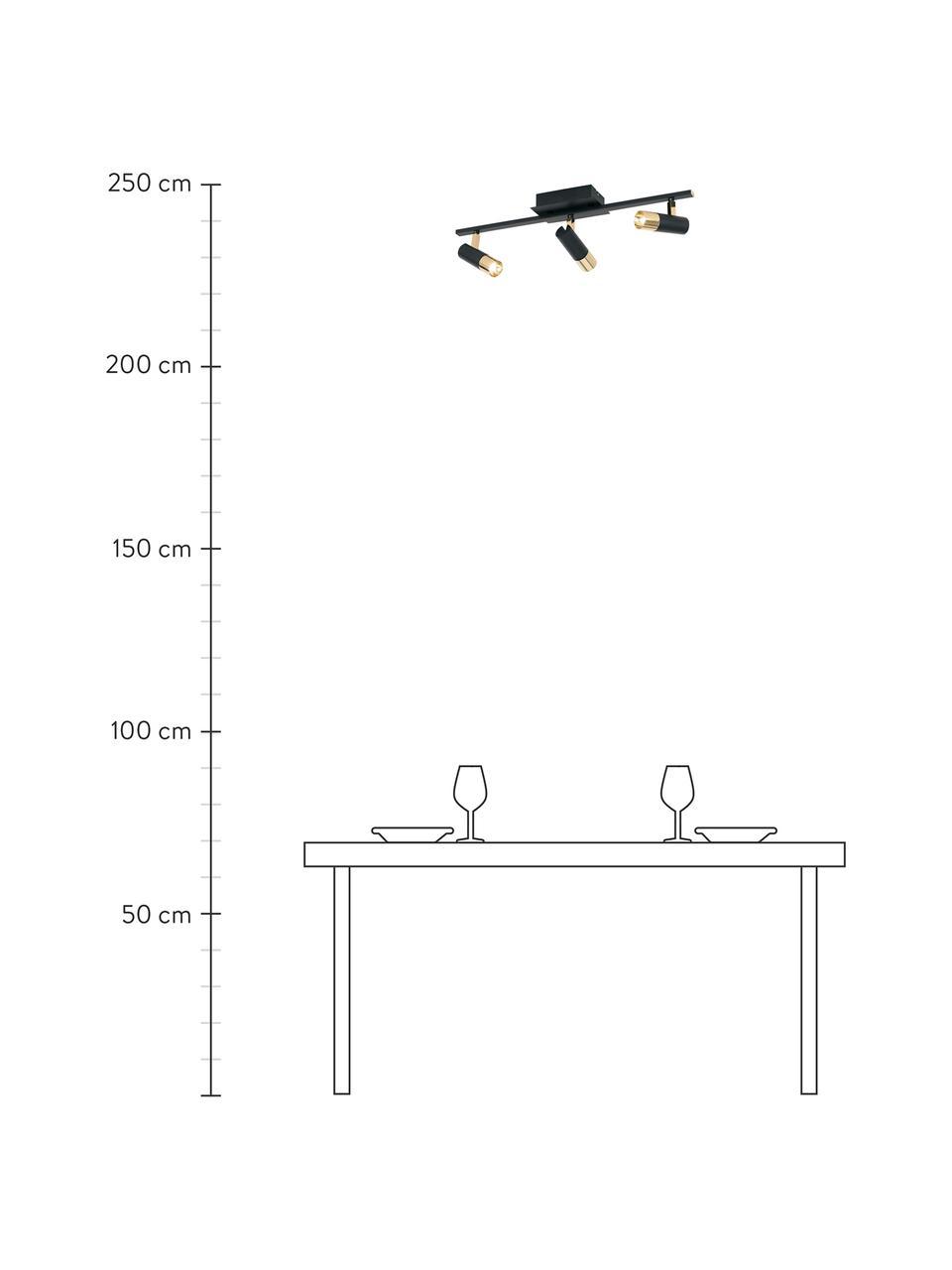 LED plafondspot Bobby in zwart-goudkleur, Baldakijn: gepoedercoat metaal, Zwart, goudkleurig, 58 x 18 cm
