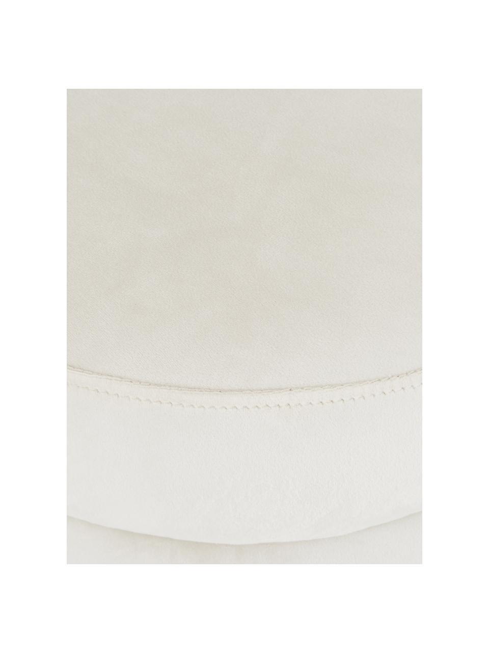 Fluwelen poef Alto, Bekleding: fluweel (polyester) De be, Frame: massief grenenhout, multi, Crèmewit, Ø 42 x H 48 cm