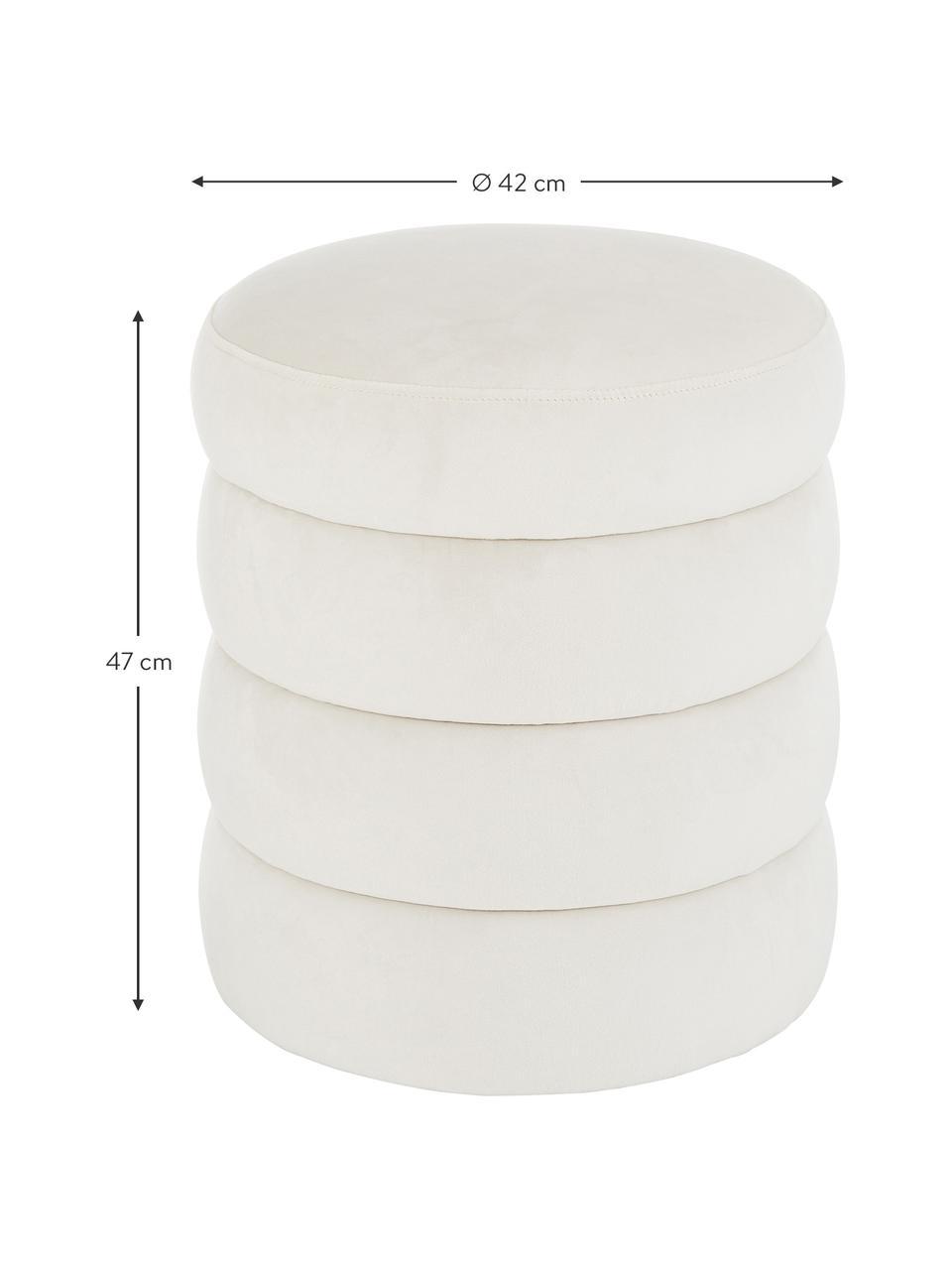 Fluwelen poef Alto, Bekleding: fluweel (polyester), Frame: massief grenenhout, multi, Fluweel crèmewit, Ø 42 x H 47 cm