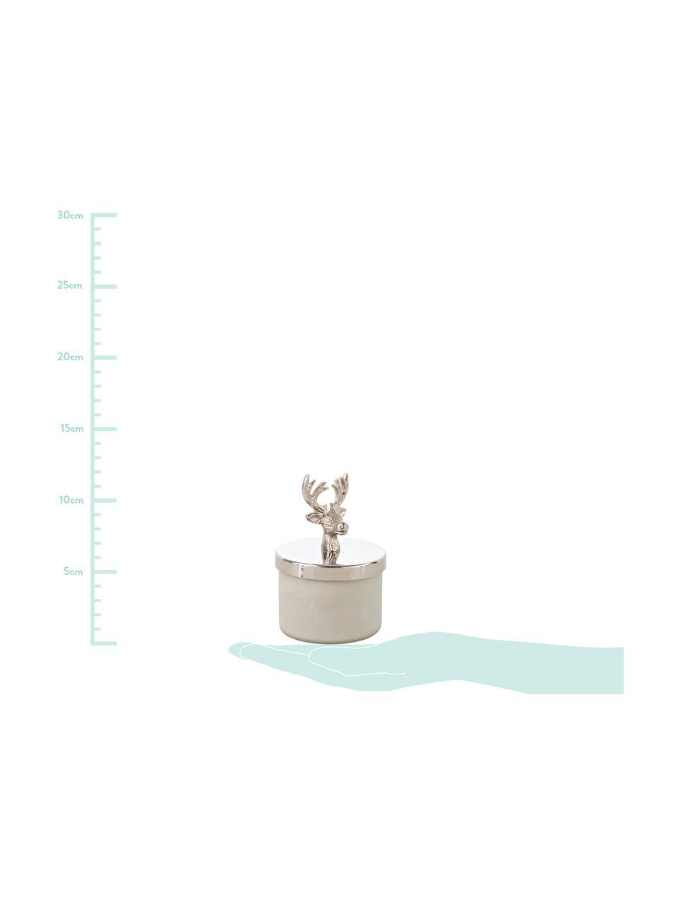 Kerze Deer, Dose: Glas, Deckel: Aluminium, Weiß, Silberfarben, Ø 7 x H 12 cm