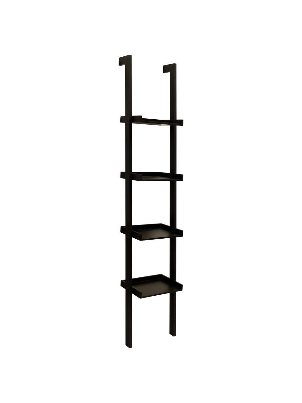 Libreria a scala nera Wall, Pannello di fibra a media densità (MDF) verniciato, Nero, Larg. 37 x Alt. 180 cm