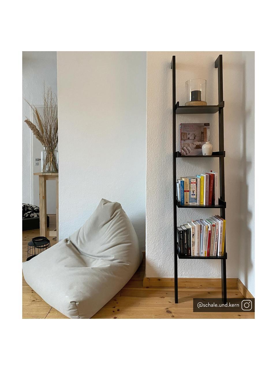 Smalle houten ladderrek Wall in zwart, Gelakt MDF, Zwart, 37 x 180 cm