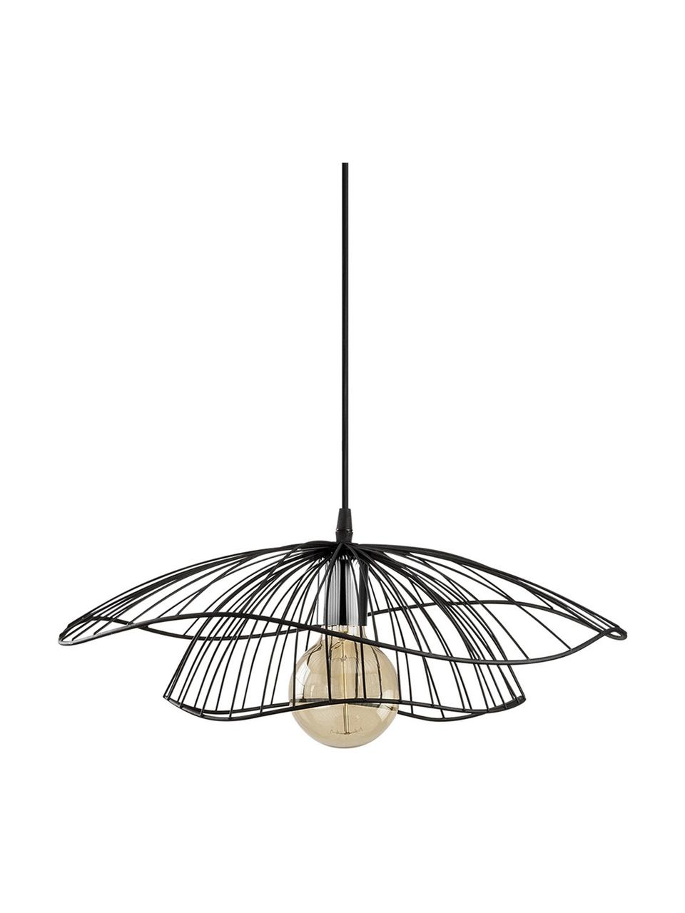 Hanglamp Tel van metaal, Lampenkap: gecoat metaal, Fitting: metaal, Baldakijn: gecoat metaal, Zwart, Ø 50  x H 14 cm