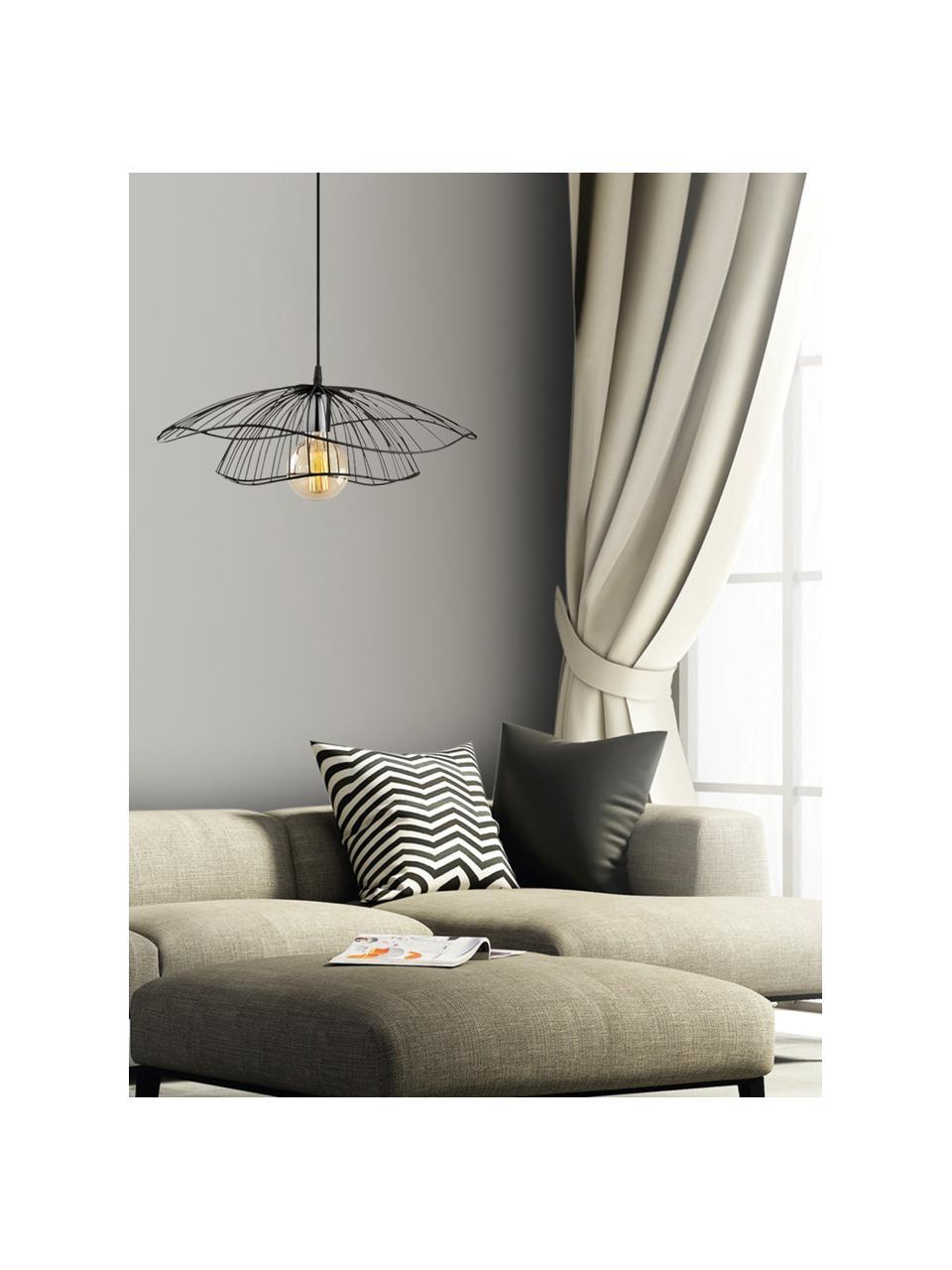 Pendelleuchte Tel aus Metall, Lampenschirm: Metall, beschichtet, Baldachin: Metall, beschichtet, Schwarz, Ø 50 x H 14 cm