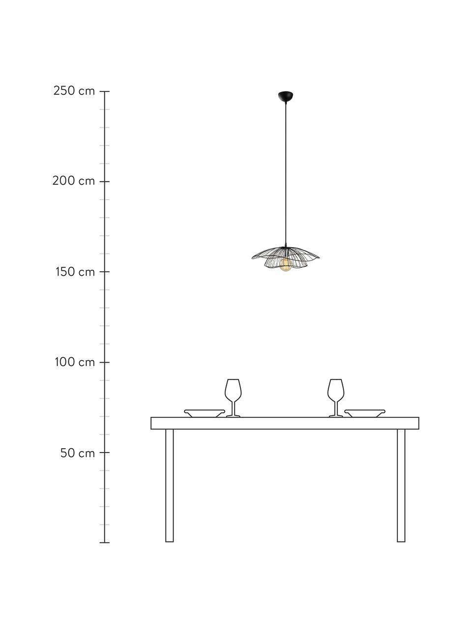 Lampada a sospensione in metallo Tel, Paralume: metallo rivestito, Baldacchino: metallo rivestito, Nero, Ø 50 x Alt. 14 cm