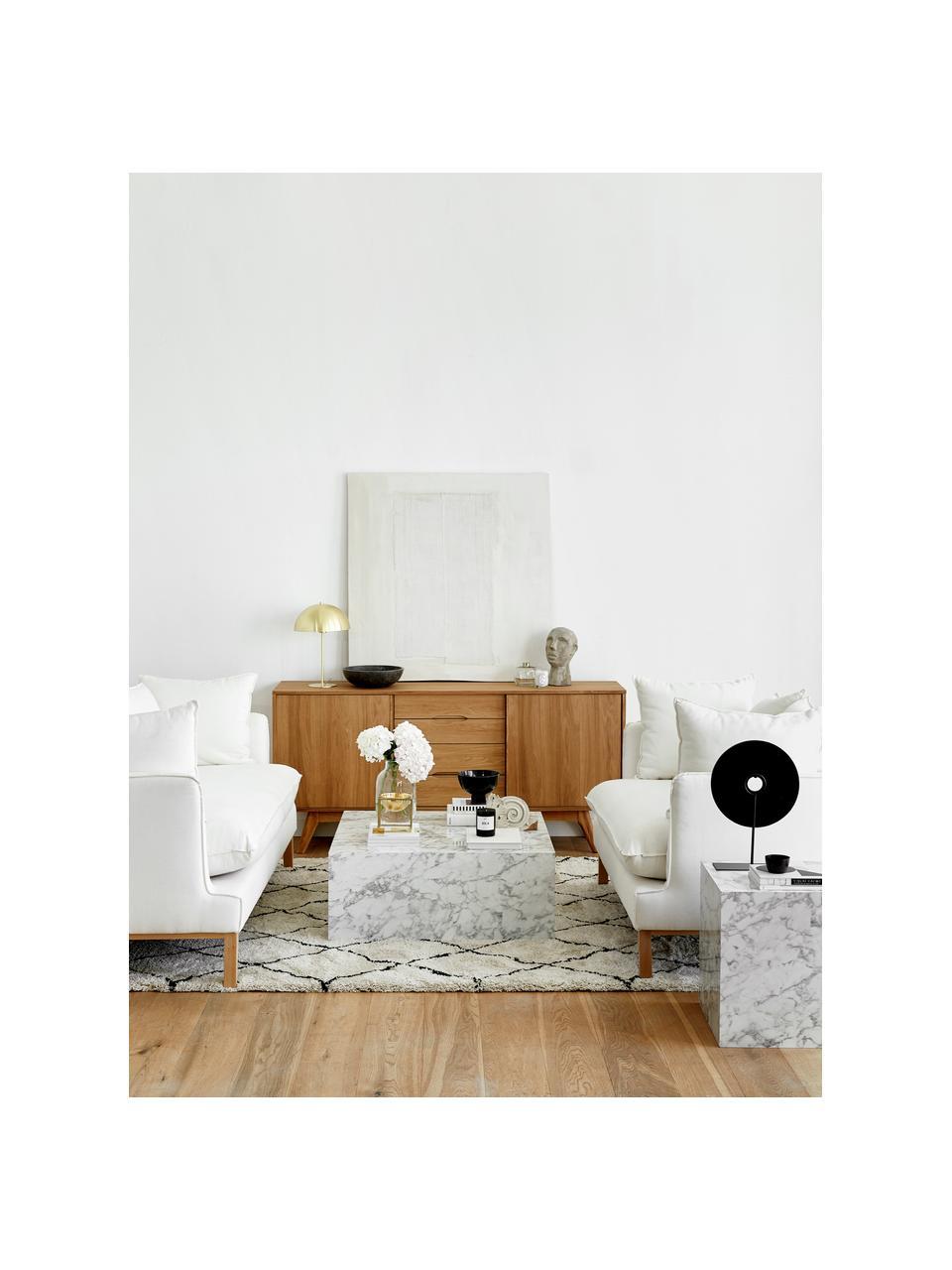 Table basse flottante aspect marbre Lesley, Blanc, aspect marbre