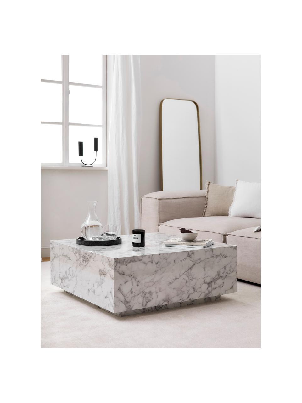 Tavolino da salotto vuoto effetto marmo Lesley, Pannello di fibra a media densità (MDF) rivestito con foglio di melamina, Bianco effetto marmorizzato, Larg. 90 x Alt. 35 cm