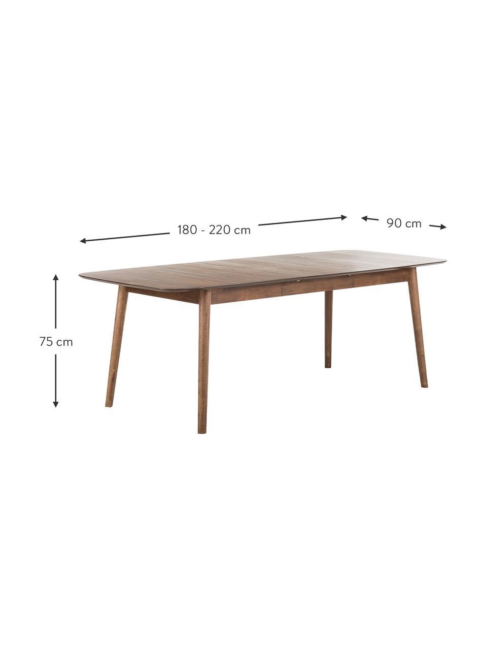 Tavolo allungabile con finitura in noce Montreux, Gambe: legno di albero della gom, Piano: noce Gambe: marrone tinto scuro, Larg. 180 a 220 x Prof. 90 cm