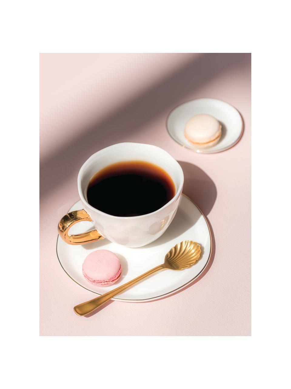 Tasse blanche avec poignée dorée Good Morning, Blanc, couleur dorée