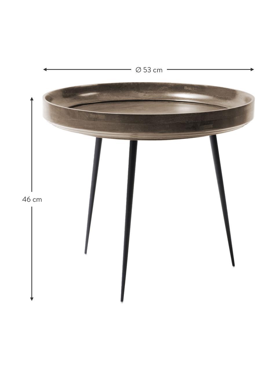 Tavolino di design in legno di mango Bowl Table, Piano d'appoggio: legno di mango, verniciat, Gambe: acciaio, verniciato a pol, Grigio scuro, nero, Ø 53 x Alt. 46 cm