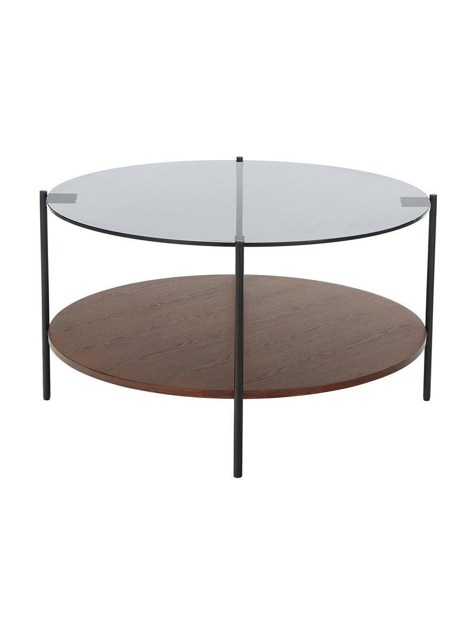 Table basse en verre Valentina, Plateau: verre, noir teinté Tablette: placage en frêne, brun