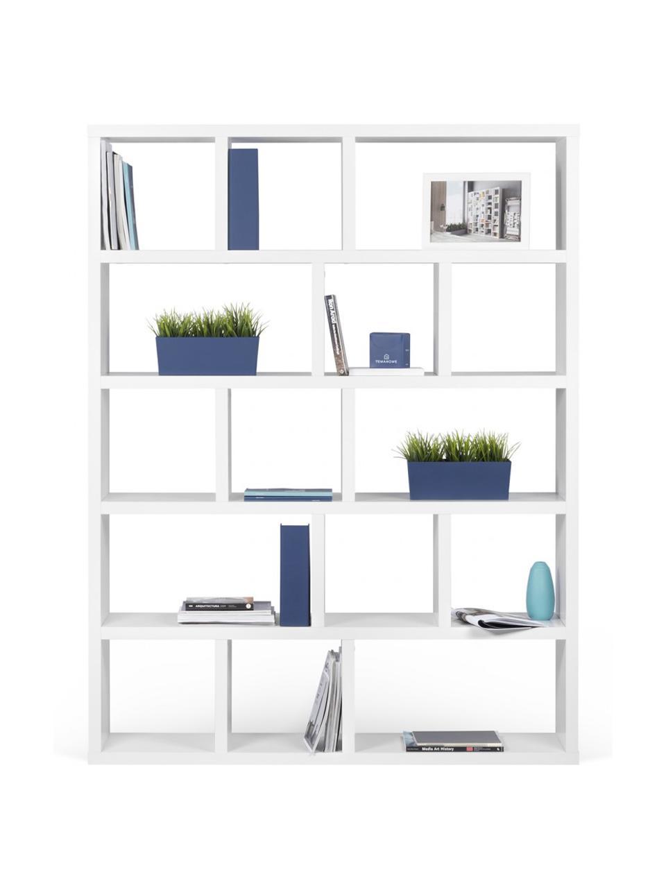 Großes Bücherregal Portlyn in Weiß, Oberfläche: Melaminschicht., Weiß, matt, 150 x 198 cm