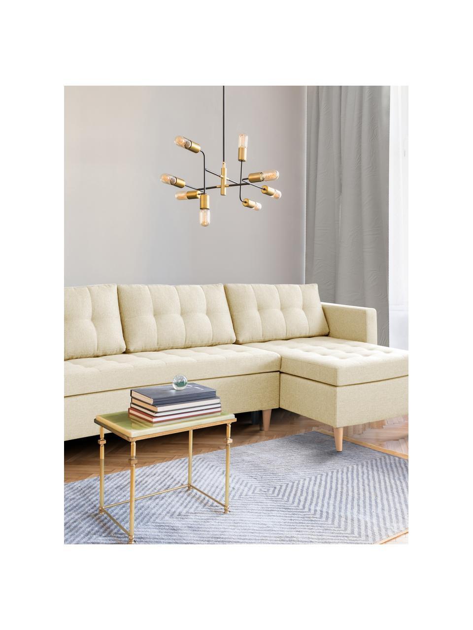 Hoekbank Fandy in beige met slaapfunctie, uitklapbaar, Bekleding: polyester, Frame: massief hout, spaanplaat, Poten: beukenhout, Geweven stof beige, B 223 x D 69 cm