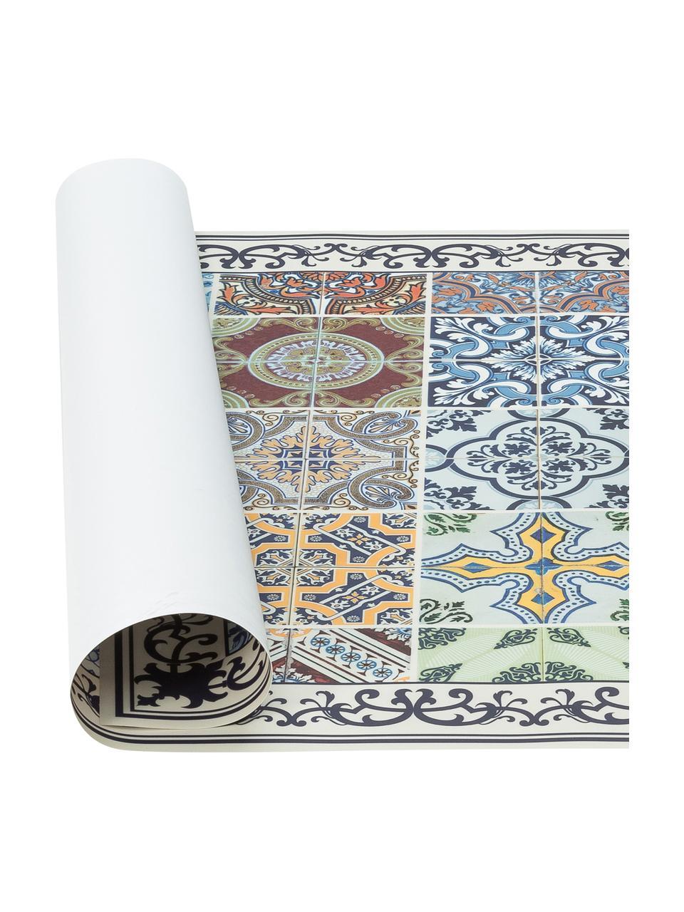 Vlakke vinyl vloermat Pablo met kleurrijke print, antislip, Gerecycled vinyl, Multicolour, 136 x 203 cm