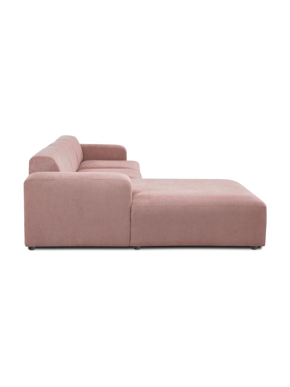 Canapé d'angle 4 places velours côtelé rose Melva, Velours côtelé rose