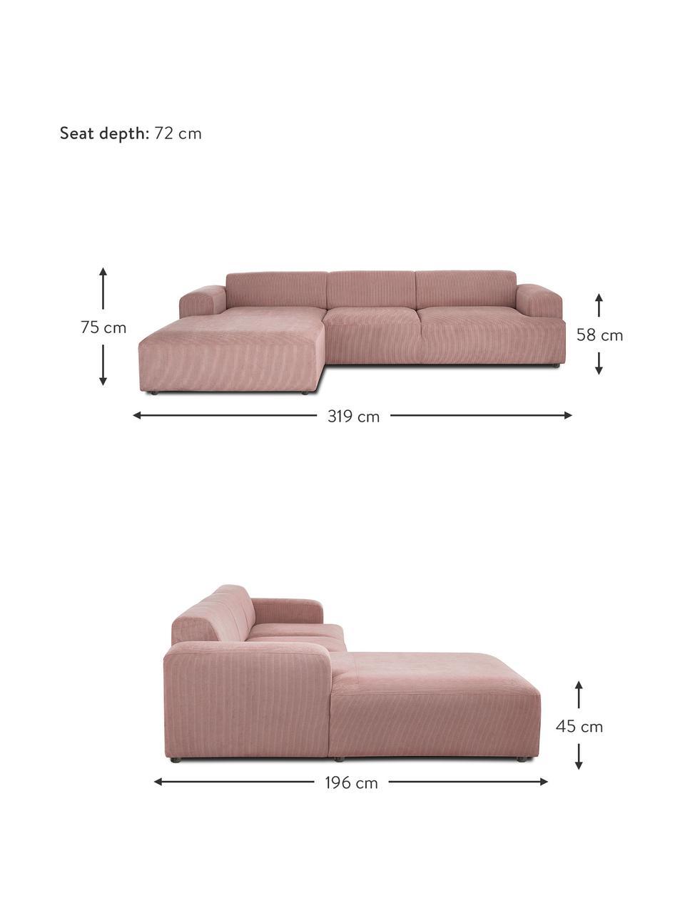 Ribfluwelen hoekbank Melva (4-zits) in roze, Bekleding: corduroy (92% polyester, , Frame: massief grenenhout, FSC-g, Poten: kunststof, Corduroy roze, B 319 x D 196 cm