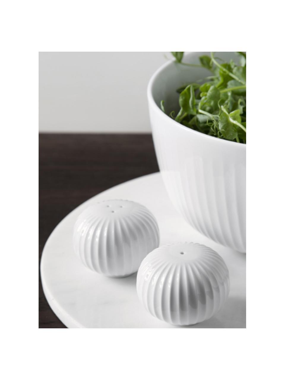 Design zout- en peperstrooierset Hammershøi van keramiek, 2-delig, 100% geglazuurde keramiek, Wit, Ø 6 x H 4 cm