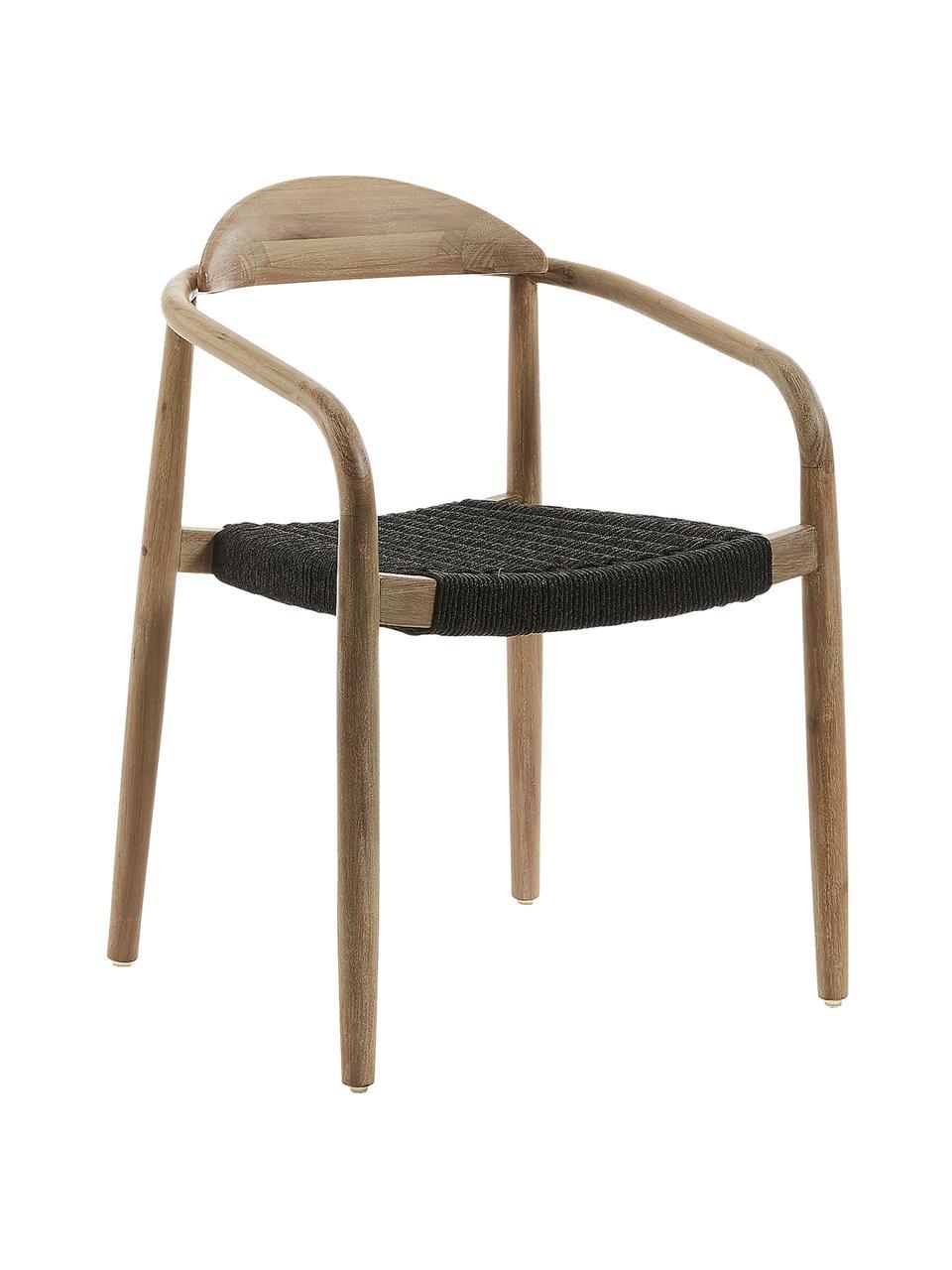 Chaise design bois massif Nina, Brun, gris foncé