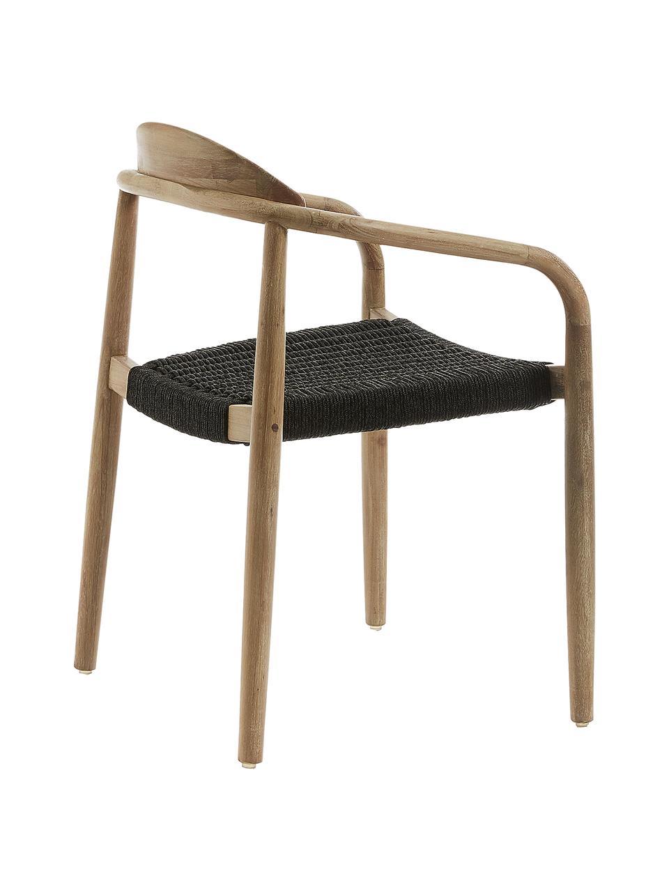 Armlehnstuhl Nina aus Massivholz, Gestell: Massives Eukalyptusholz, Sitzfläche: Polyester, UV-beständig, Braun, Dunkelgrau, B 56 x T 53 cm