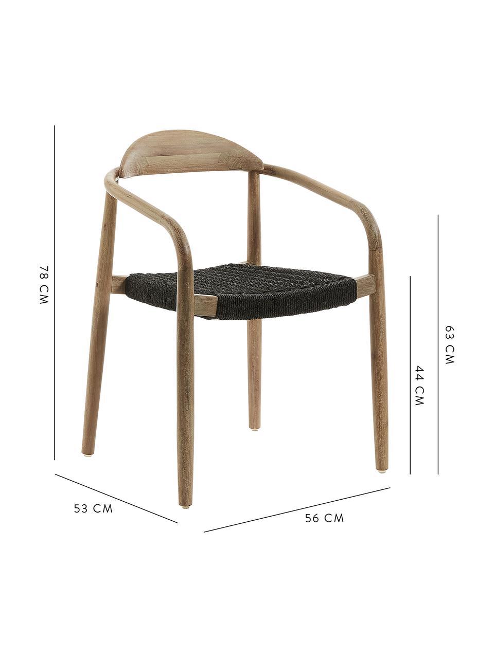 Krzesło z litego drewna z podłokietnikami Nina, Stelaż: lite drewno eukaliptusowe, Brązowy, ciemnyszary, S 56 x G 53 cm