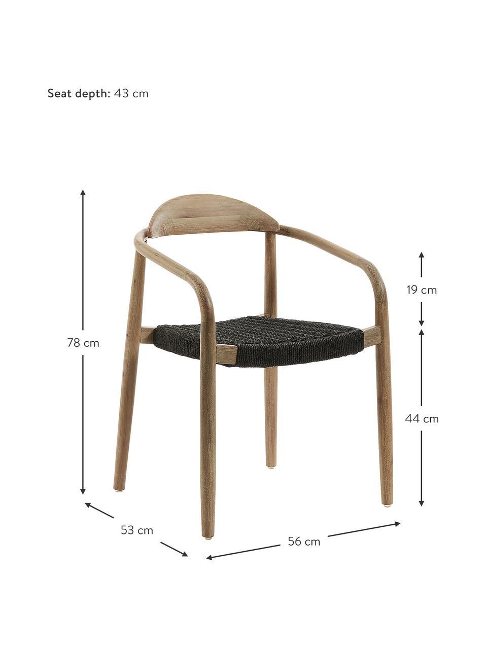 Krzesło z podłokietnikami z litego drewna Nina, Stelaż: lite drewno eukaliptusowe, Brązowy, ciemnyszary, S 56 x G 53 cm