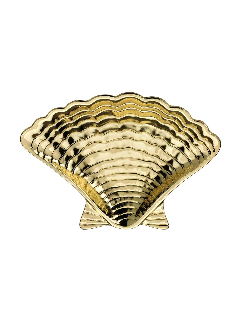 Schmuckschälchen Shell, Metall, beschichtet, Messingfarben, 14 x 2 cm
