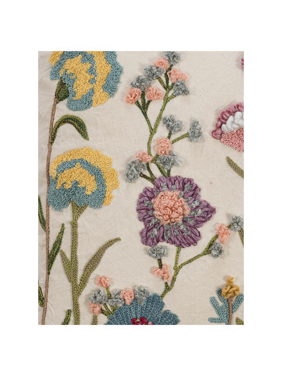Federa con ricamo floreale Lilotte, Retro: 100% cotone, Beige, multicolore, Larg. 50 x Lung. 50 cm