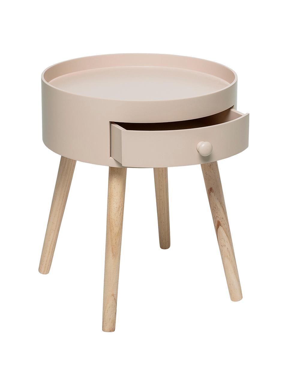 Tavolino con cassetto First, Gambe: legno di quercia, natural, Rosa cipria, Ø 38 x Alt. 45 cm