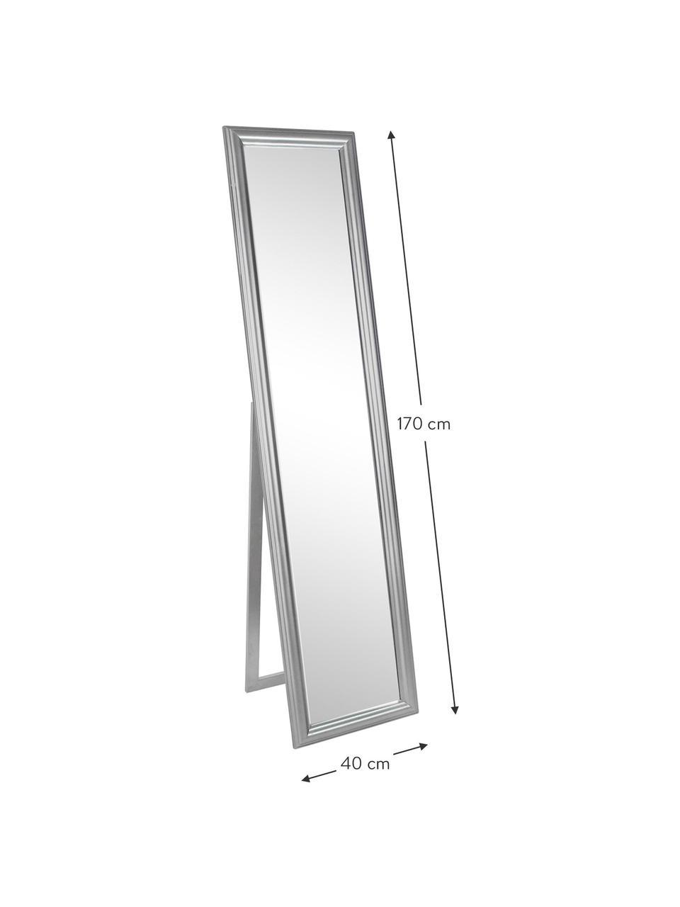 Eckiger Standspiegel Sanzio mit silbernem Paulowniaholzrahmen, Rahmen: Paulowniaholz, beschichte, Spiegelfläche: Spiegelglas, Silberfarben, 40 x 170 cm