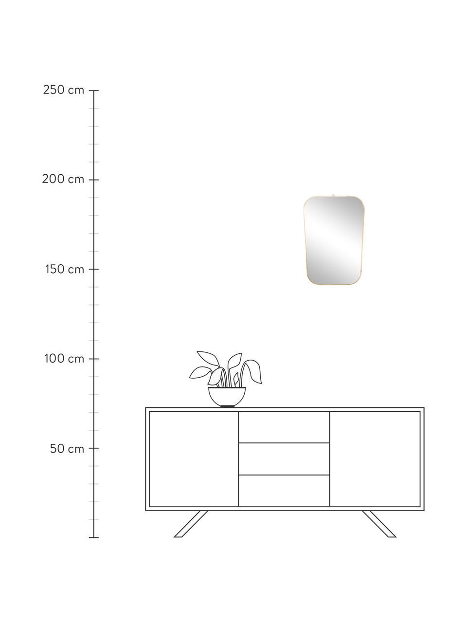 Specchio da parete con cornice dorata Rounded, Cornice: ferro verniciato finitura, Superficie dello specchio: vetro a specchio, Dorato, Larg. 35 x Alt. 51 cm