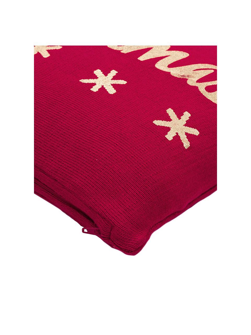 Federa natalizia con cucitura a maglia Christmas, Cotone, Rosso, oro, Larg. 40 x Lung. 40 cm