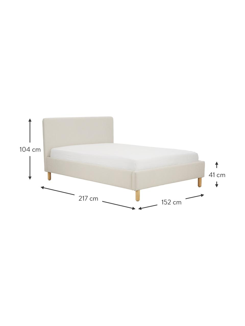 Gestoffeerd bed Celeste in crèmewit, Frame: massief grenenhout, multi, Bekleding: polyester (gestructureerd, Poten: massief gelakt rubberhout, Stof crèmewit, 180 x 200 cm