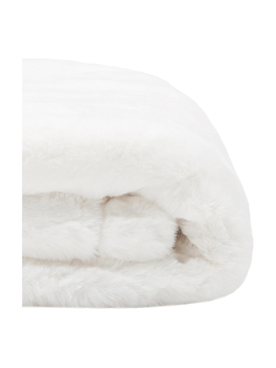 Kunstfell-Plaid Mette, glatt, Vorderseite: 100% Polyester, Rückseite: 100% Polyester, Creme, 150 x 200 cm