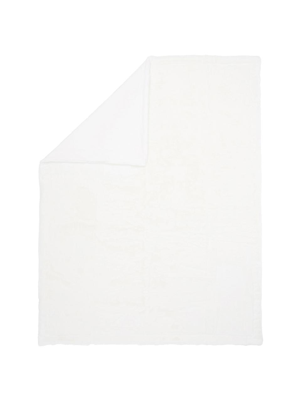 Manta de piel sintética Mette, lisa, Parte superior: 100% poliéster, Parte trasera: 100% poliéster, Crema, An 150 x L 200 cm