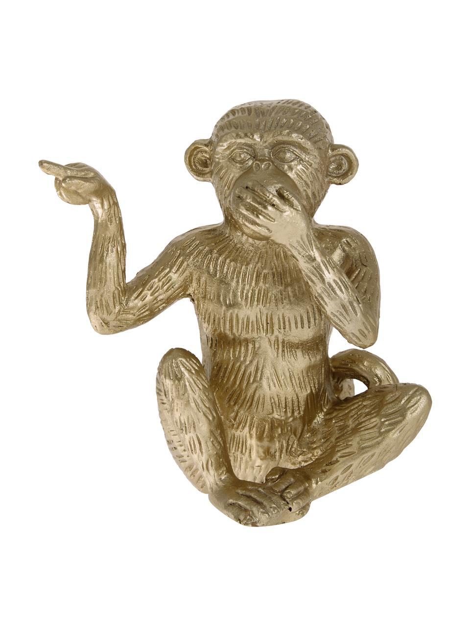 Deko-Objekt Monkey, Polyresin, Goldfarben, 14 x 15 cm