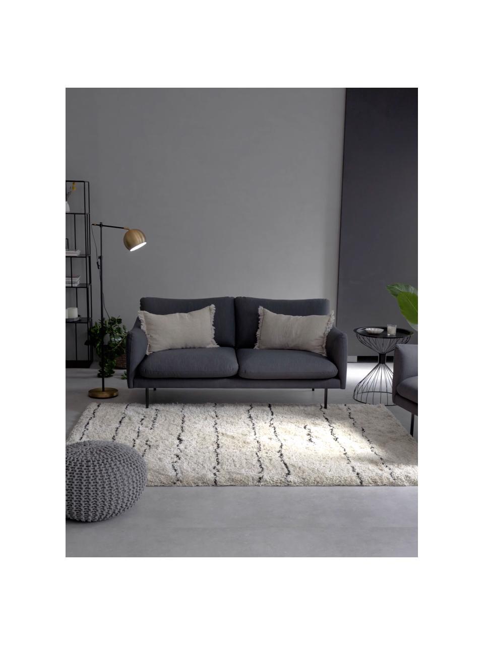 Bank Moby (2-zits) in donkergrijs met metalen poten, Bekleding: polyester, Frame: massief grenenhout, Poten: gepoedercoat metaal, Donkergrijs, B 170 x D 95 cm