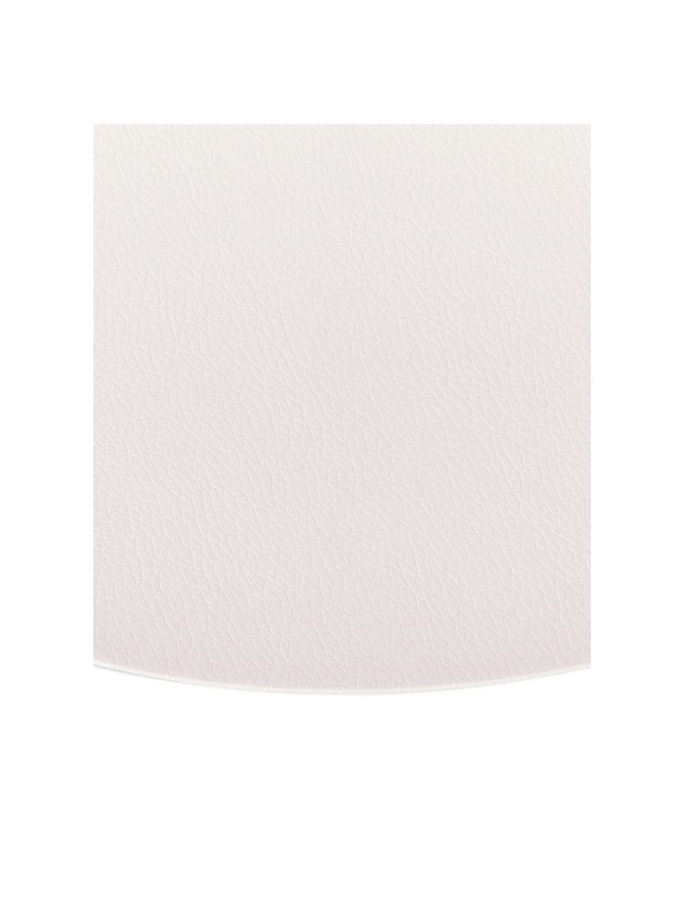 Set de table rond en cuir synthétique Pik, 2pièces, Blanc