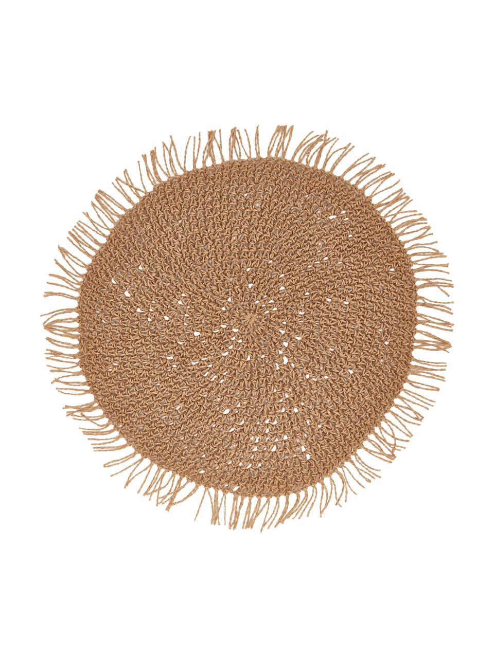 Ronde placemats Tressine uit papiervezels, 6 stuks, Geweven papiervezels, Beige, Ø 38 cm