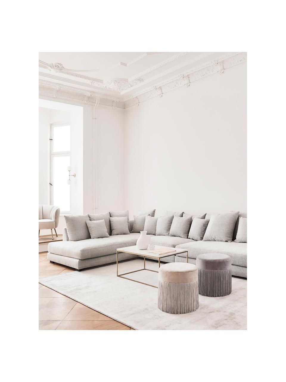 Sofa narożna Tribeca, Tapicerka: poliester Dzięki tkaninie, Nogi: lite drewno bukowe, lakie, Beżowoszary, S 405 x G 228 cm