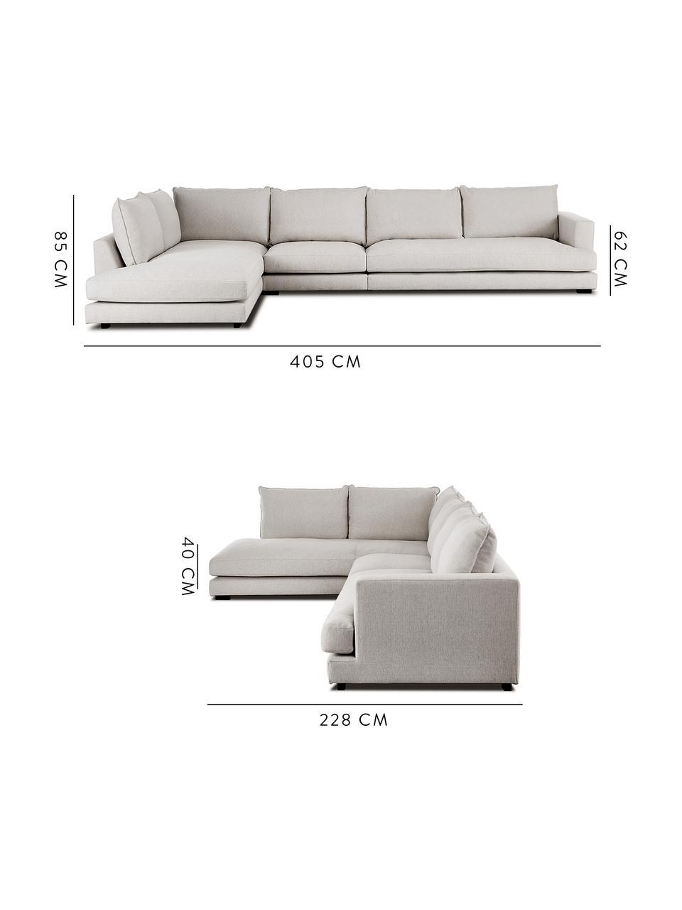 Très grand canapé d'angle gris-beige Tribeca, Tissu gris-beige