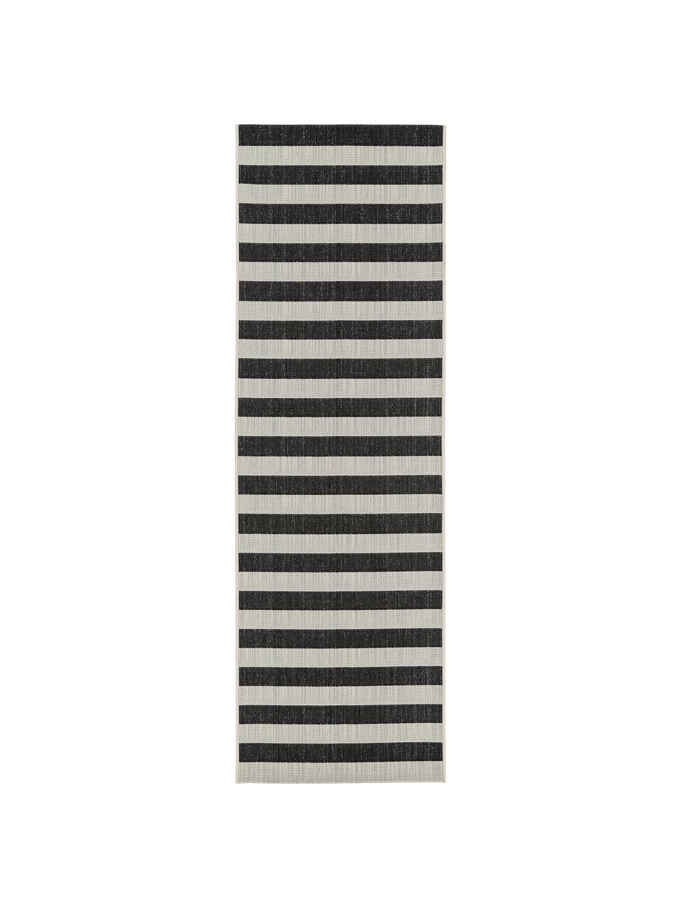 Passatoia a righe color nero/bianco a righe da interno-esterno Axa, 86% polipropilene, 14% poliestere, Bianco crema, nero, Larg. 80 x Lung. 250 cm