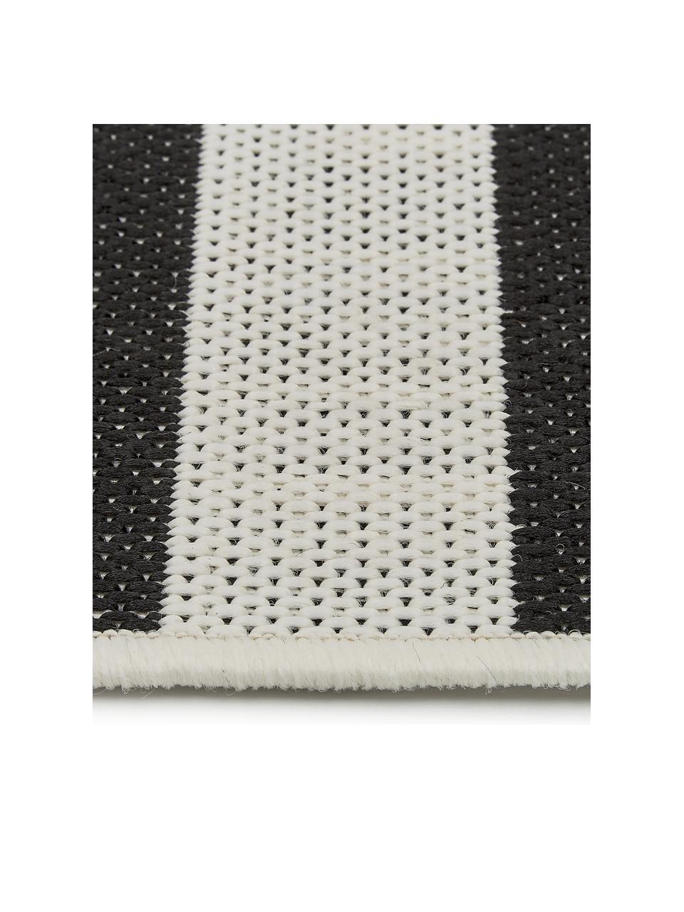 Gestreifter In- & Outdoor-Läufer Axa in Schwarz/Weiß, 86% Polypropylen, 14% Polyester, Cremeweiß, Schwarz, 80 x 250 cm
