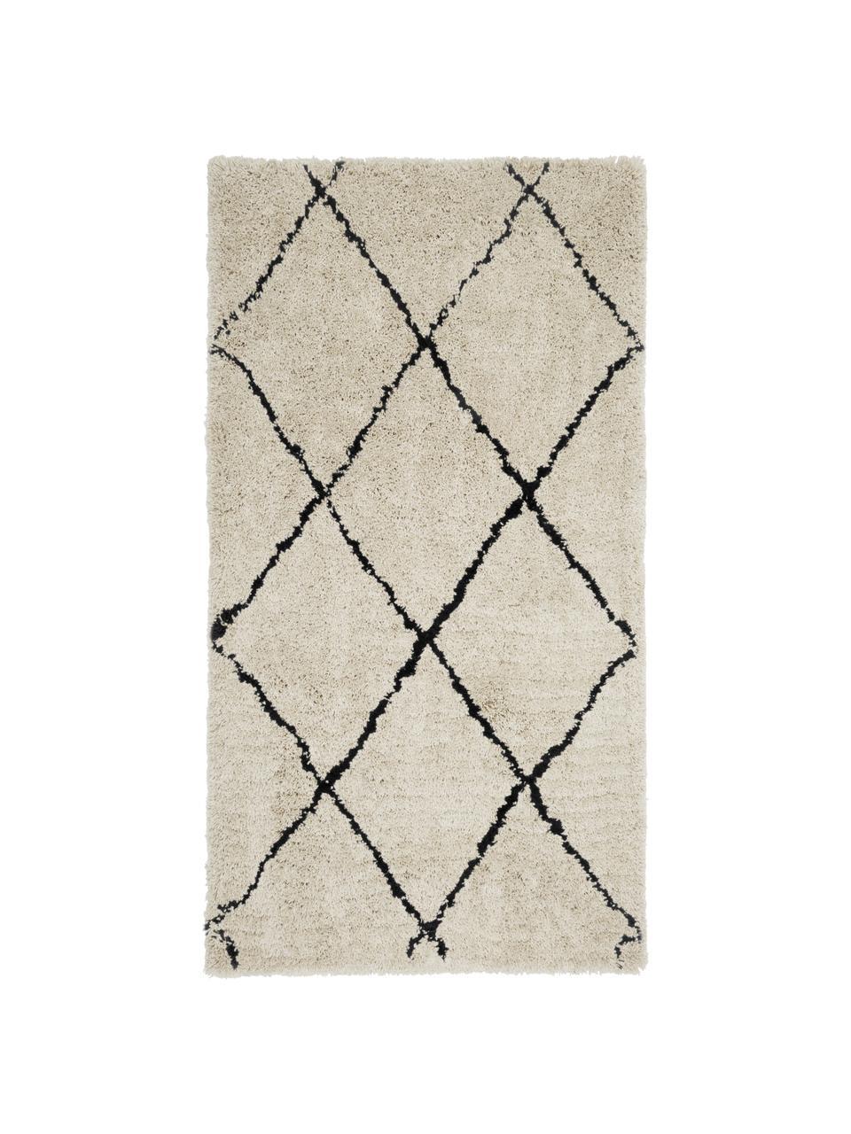 Zacht hoogpolig vloerkleed Naima, handgetuft, Bovenzijde: 100% polyester, Onderzijde: 100% katoen, Beige, zwart, B 300 x L 400 cm (Maat XL)