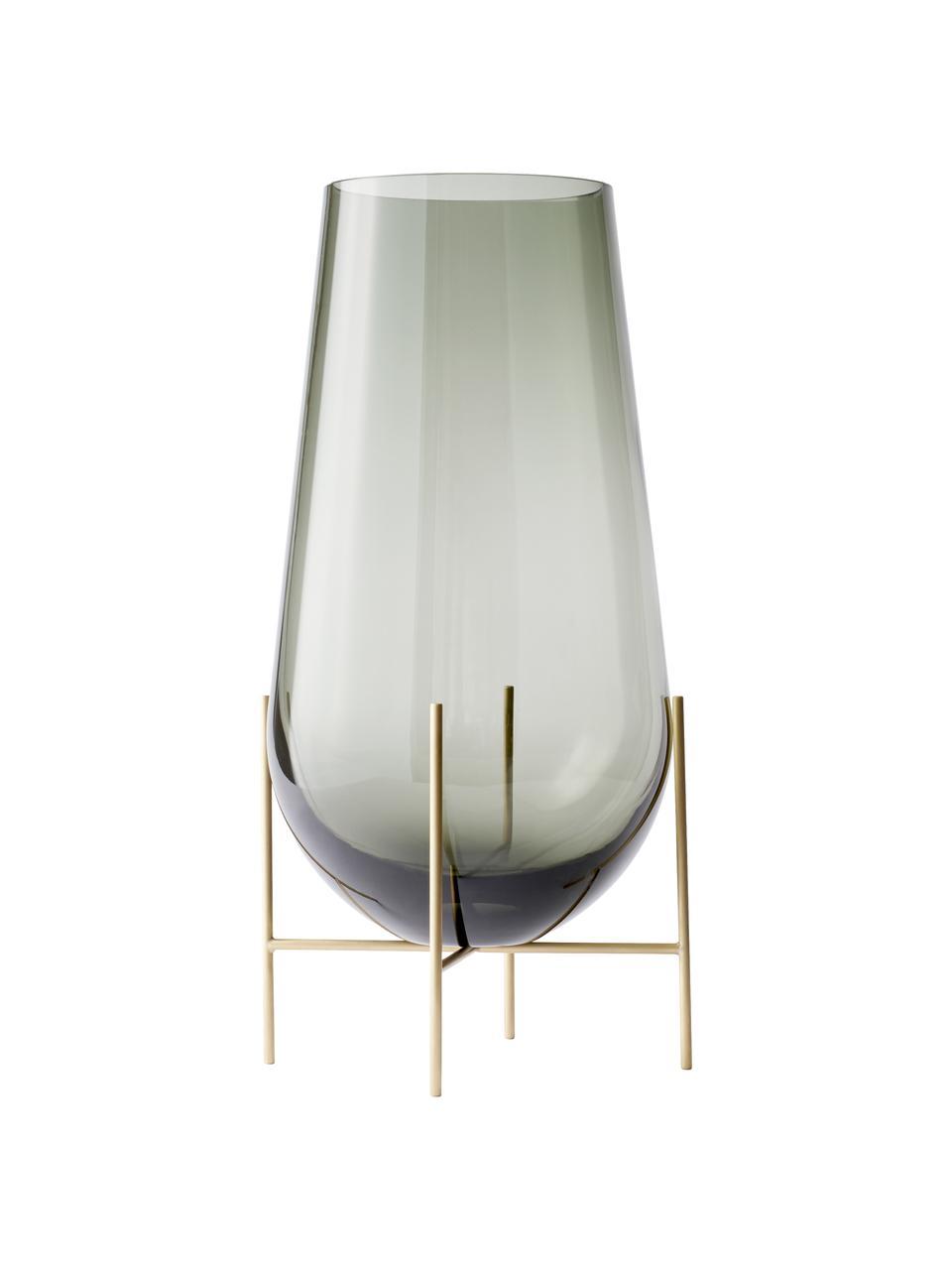 Vase design en verre soufflé bouche Échasse, Couleur laiton, gris