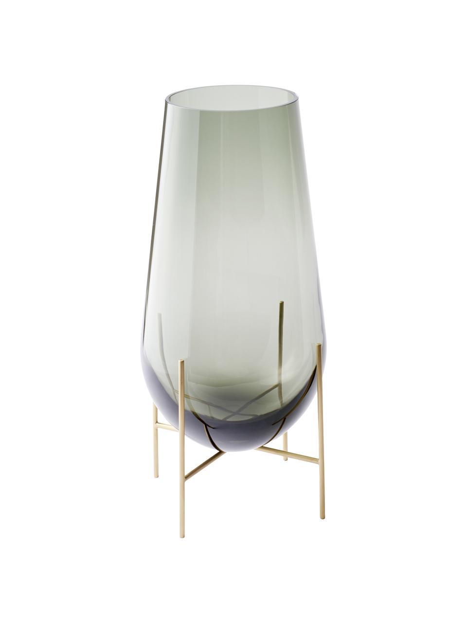 Vaso elegante di design Échasse, Struttura: ottone, Vaso: vetro soffiato, Ottonato, grigio, Ø 15 x Alt. 28 cm
