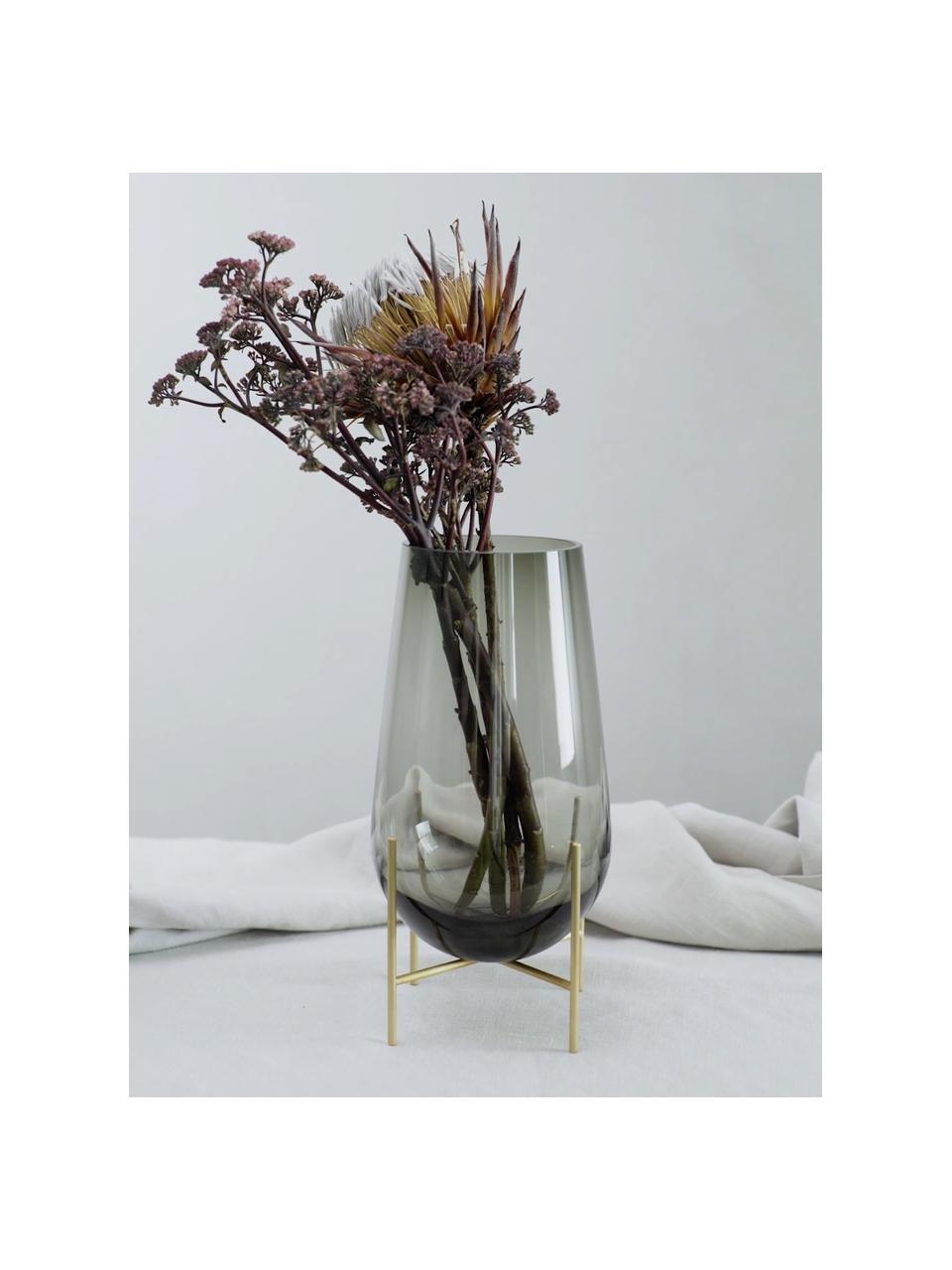 Vaas Échasse, Frame: messing, Vaas: mondgeblazen glas, Messingkleurig, grijs, Ø 15 x H 28 cm
