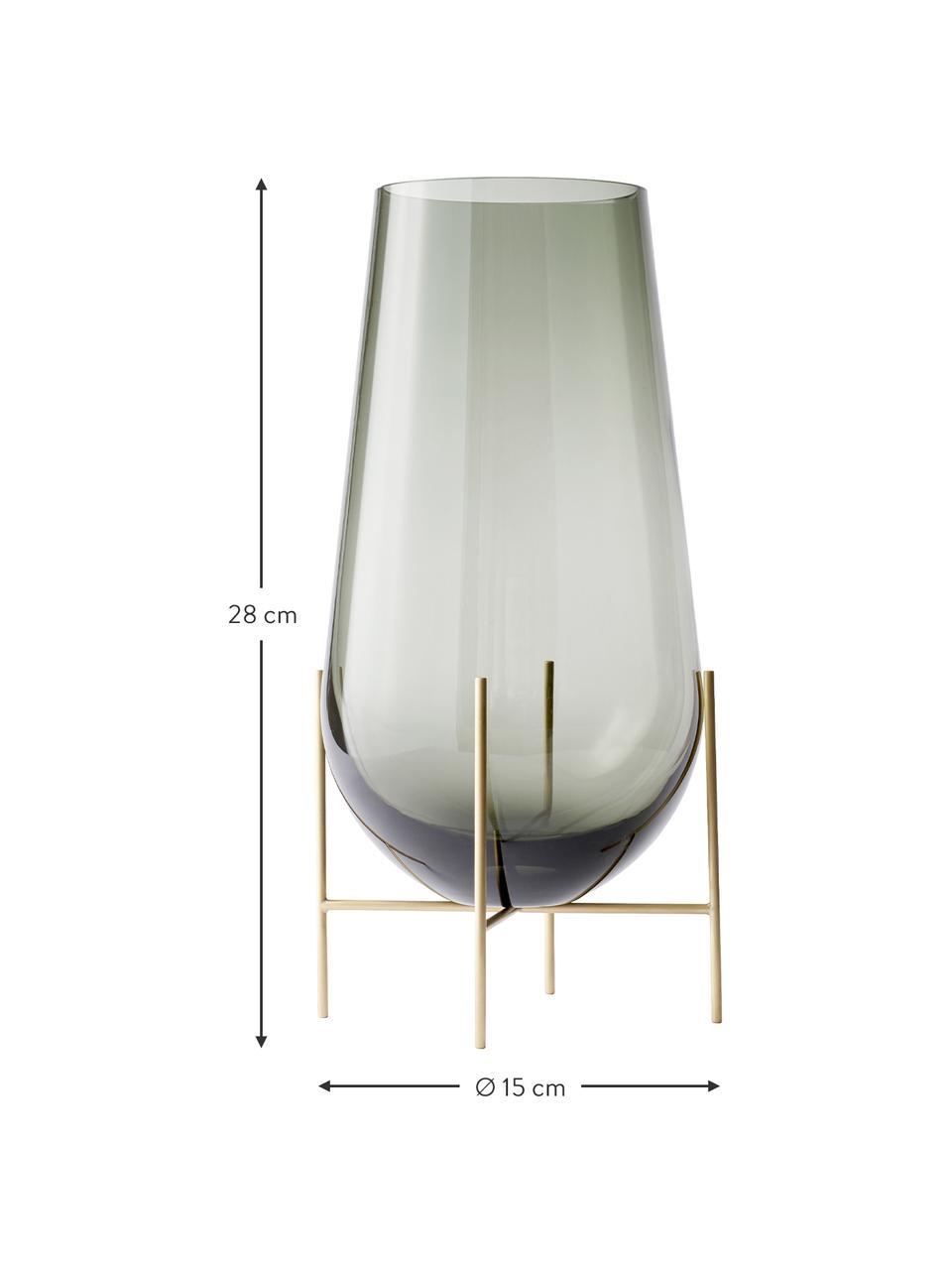 Wazon ze szkła dmuchanego Échasse, Stelaż: mosiądz, Odcienie mosiądzu, szary, Ø 15 x W 28 cm