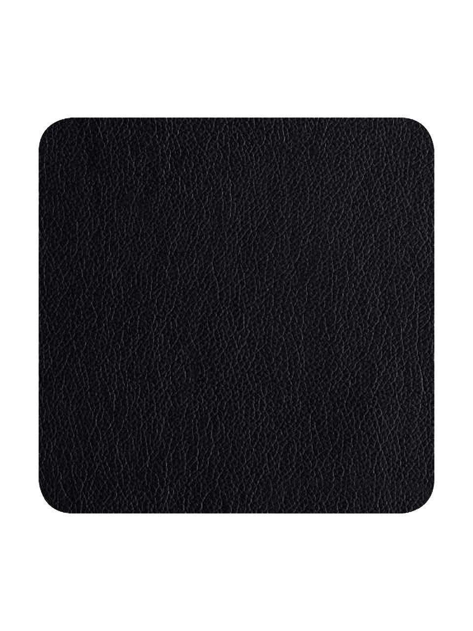Sottobicchiere quadrato in similpelle nera Pik 4 pz, Materiale sintetico (PVC), Nero, Larg. 10 x Lung. 10 cm
