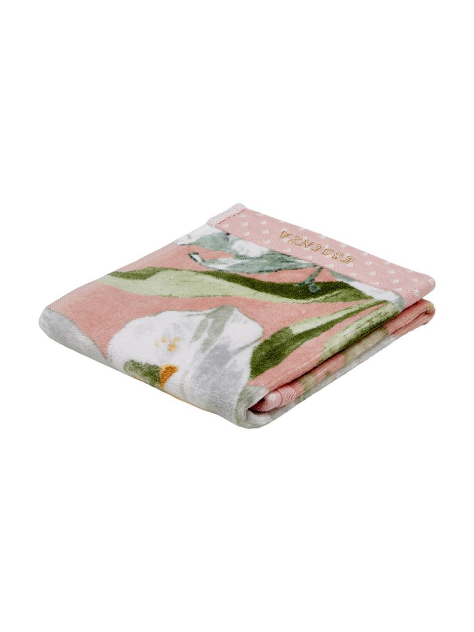 Handdoek Rosalee in verschillende formaten, met bloemenpatroon, 100% biokatoen, GOTS-gecertificeerd, Roze, wit, groen, oranje, Gastendoekje